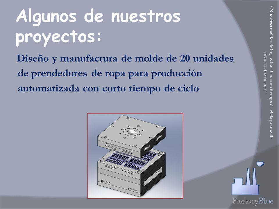 Diseño y manufactura de molde de 20 unidades de prendedores de ropa para producción automatizada con corto tiempo de ciclo Algunos de nuestros proyectos: Nuestros moldes de inyección tienen un tiempo de ciclo promedio menor a 4 semanas
