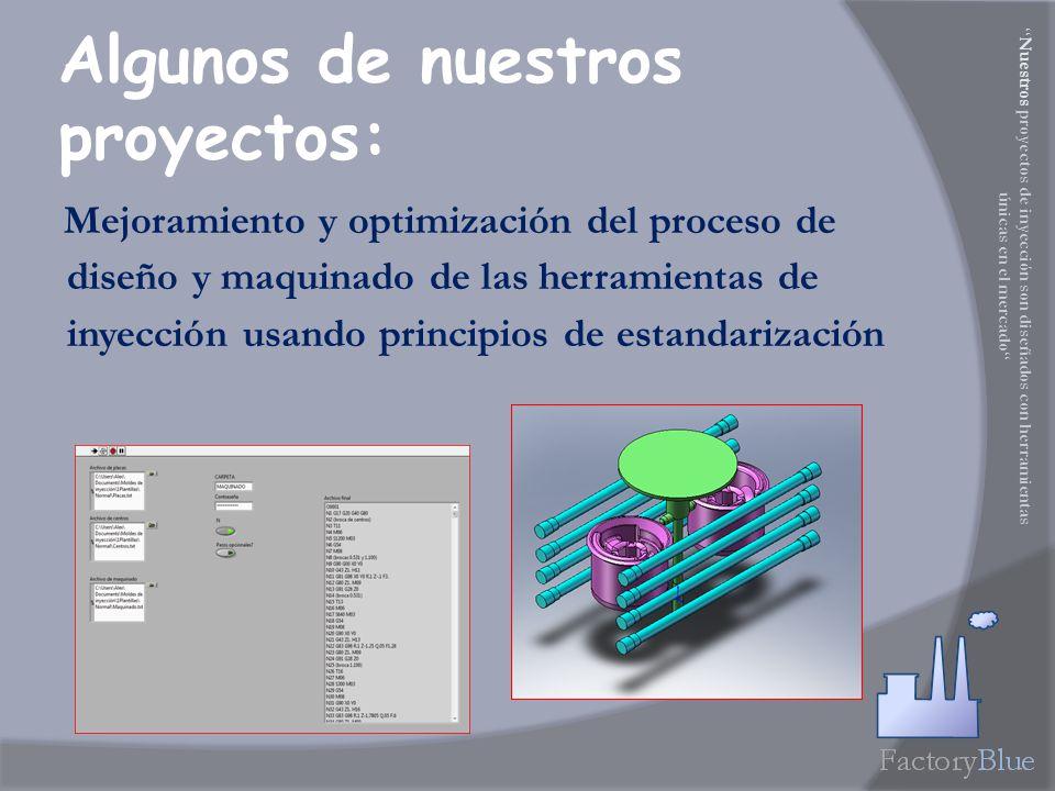 Mejoramiento y optimización del proceso de diseño y maquinado de las herramientas de inyección usando principios de estandarización Algunos de nuestros proyectos: Nuestros proyectos de inyección son diseñados con herramientas únicas en el mercado