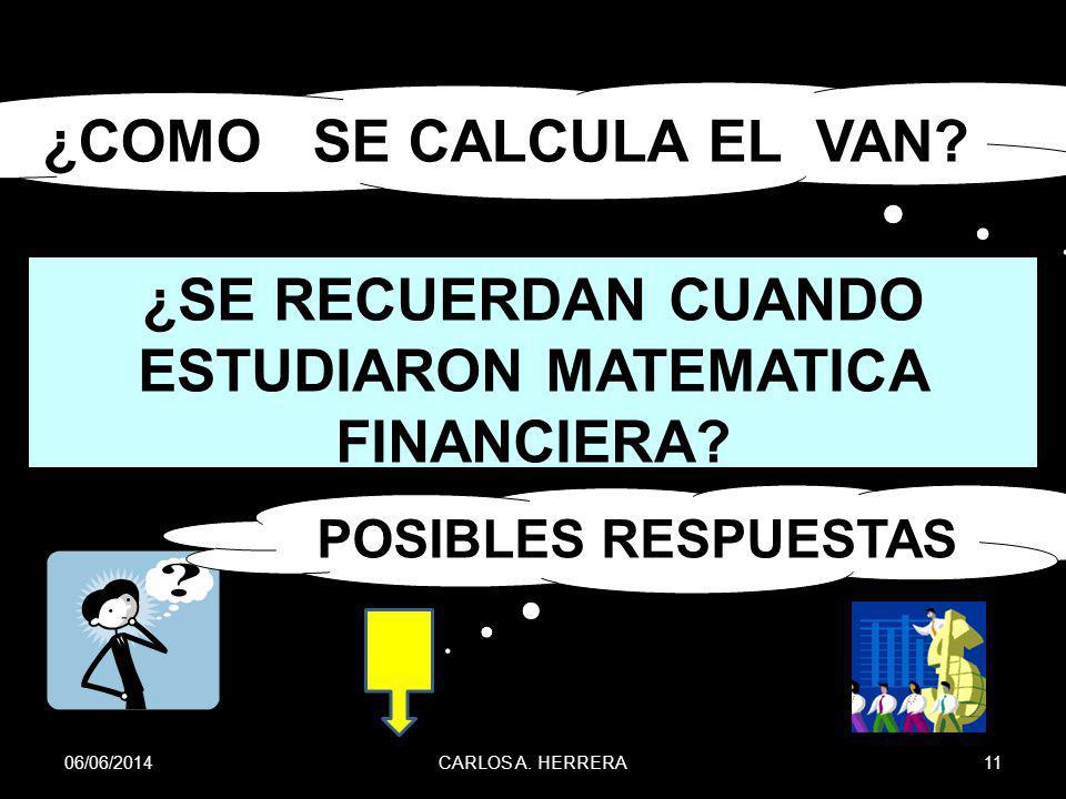 06/06/201411CARLOS A. HERRERA ¿COMO SE CALCULA EL VAN? POSIBLES RESPUESTAS ¿SE RECUERDAN CUANDO ESTUDIARON MATEMATICA FINANCIERA?