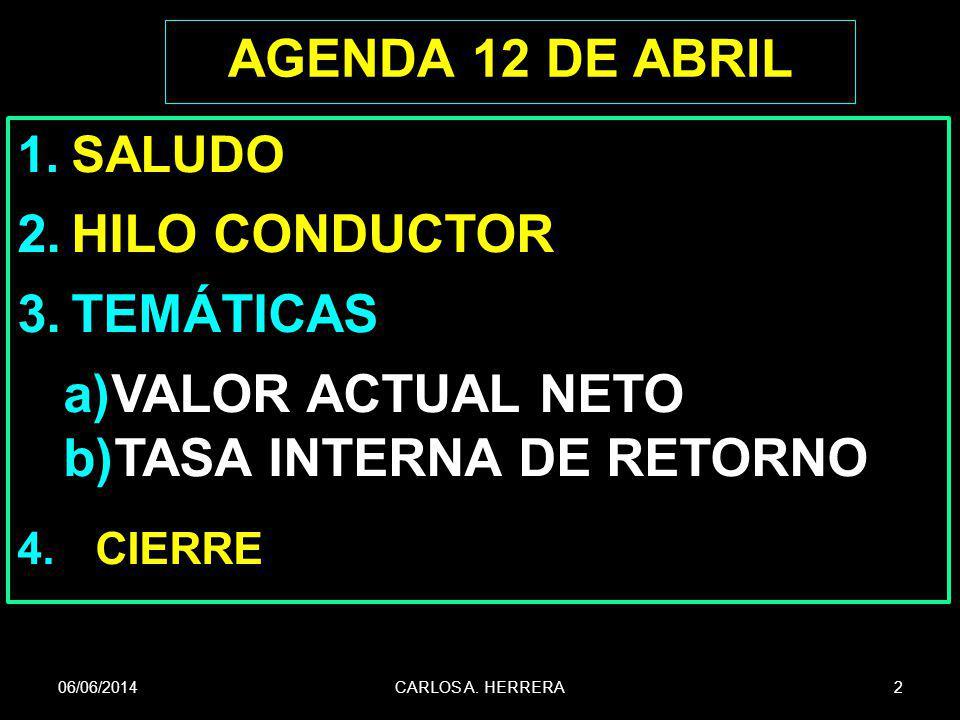 AGENDA 12 DE ABRIL 1.SALUDO 2.HILO CONDUCTOR 3.TEMÁTICAS a)VALOR ACTUAL NETO b)TASA INTERNA DE RETORNO 4.CIERRE 06/06/2014CARLOS A. HERRERA2