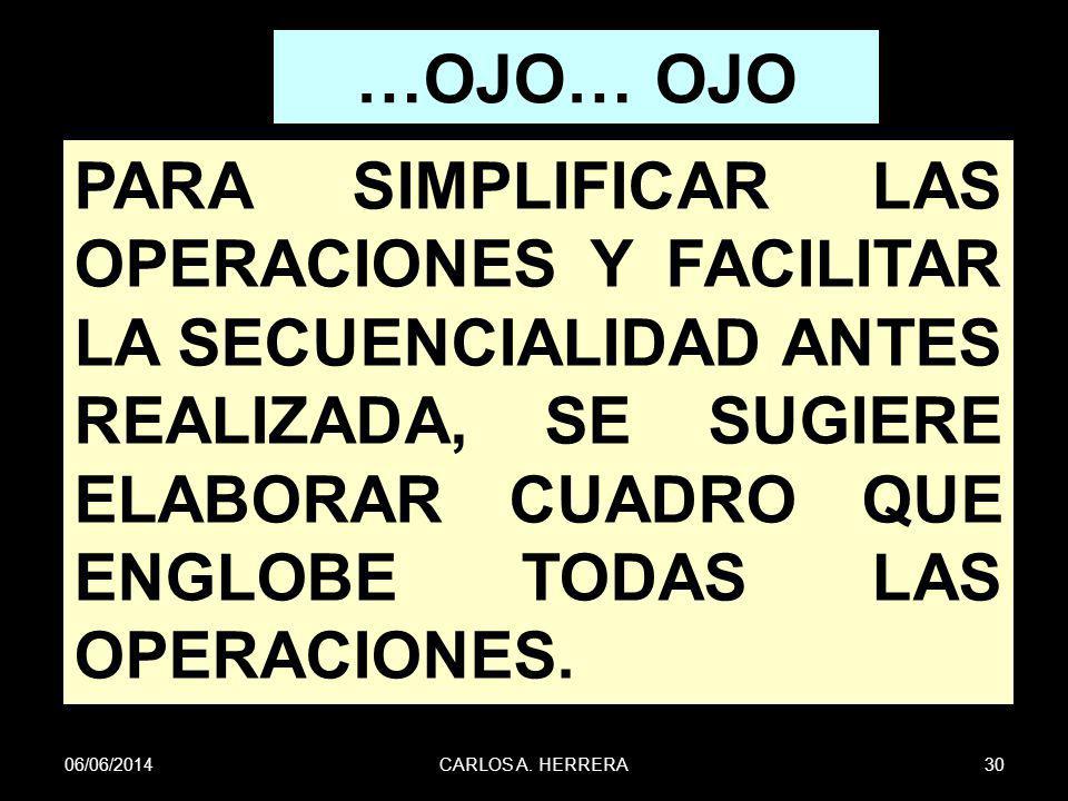 06/06/201430CARLOS A. HERRERA …OJO… OJO PARA SIMPLIFICAR LAS OPERACIONES Y FACILITAR LA SECUENCIALIDAD ANTES REALIZADA, SE SUGIERE ELABORAR CUADRO QUE