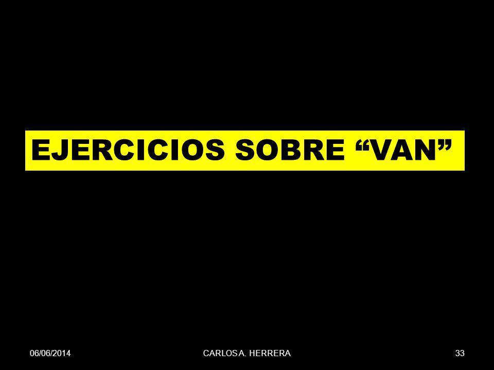06/06/201433CARLOS A. HERRERA EJERCICIOS SOBRE VAN