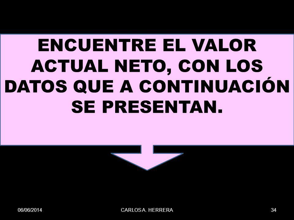 06/06/201434CARLOS A. HERRERA ENCUENTRE EL VALOR ACTUAL NETO, CON LOS DATOS QUE A CONTINUACIÓN SE PRESENTAN.