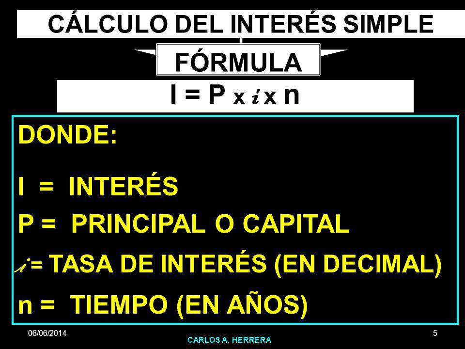 06/06/2014 CARLOS A. HERRERA 5 CÁLCULO DEL INTERÉS SIMPLE FÓRMULA I = P x i x n DONDE: I = INTERÉS P = PRINCIPAL O CAPITAL i = TASA DE INTERÉS (EN DEC