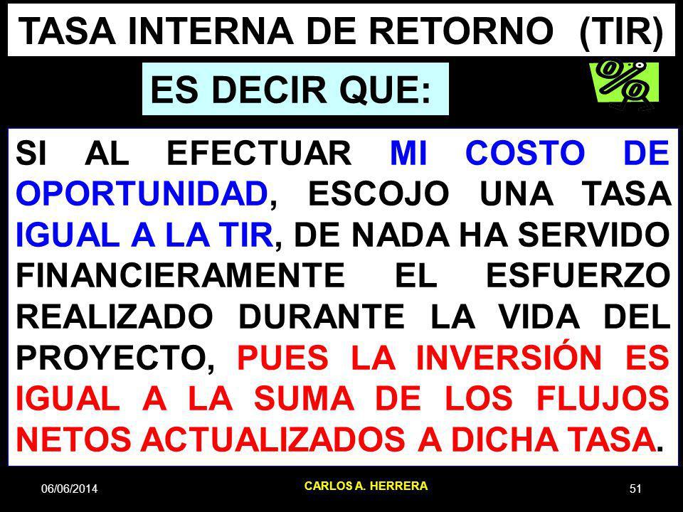 06/06/201451 CARLOS A. HERRERA TASA INTERNA DE RETORNO (TIR) ES DECIR QUE: SI AL EFECTUAR MI COSTO DE OPORTUNIDAD, ESCOJO UNA TASA IGUAL A LA TIR, DE