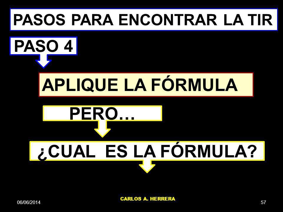 06/06/201457 CARLOS A. HERRERA APLIQUE LA FÓRMULA PASOS PARA ENCONTRAR LA TIR PASO 4 PERO… ¿CUAL ES LA FÓRMULA?