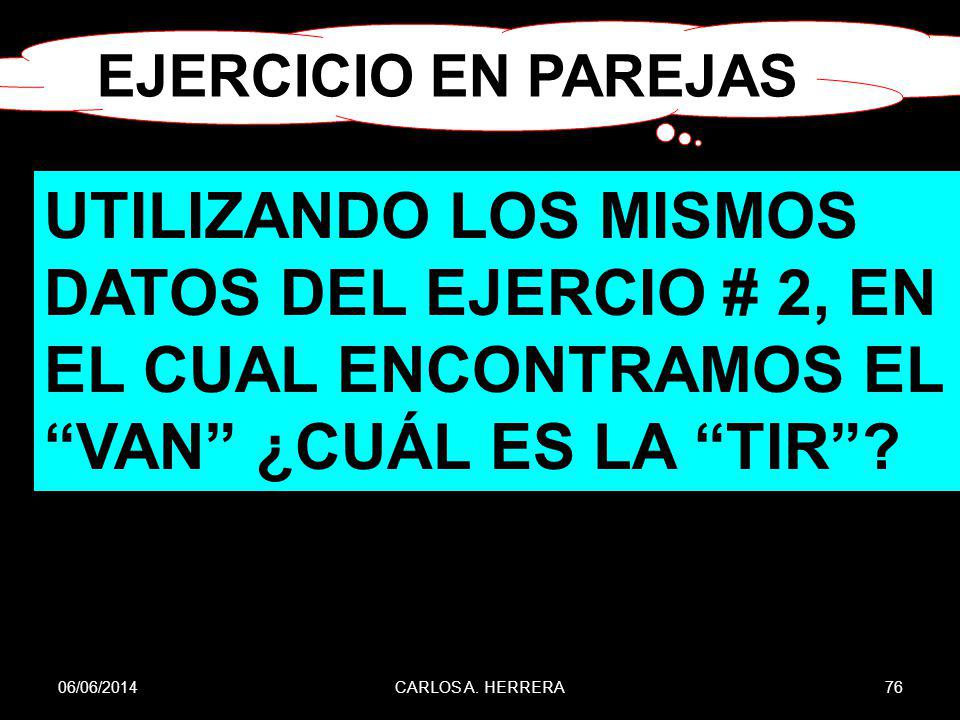 06/06/201476CARLOS A. HERRERA UTILIZANDO LOS MISMOS DATOS DEL EJERCIO # 2, EN EL CUAL ENCONTRAMOS EL VAN ¿CUÁL ES LA TIR? EJERCICIO EN PAREJAS