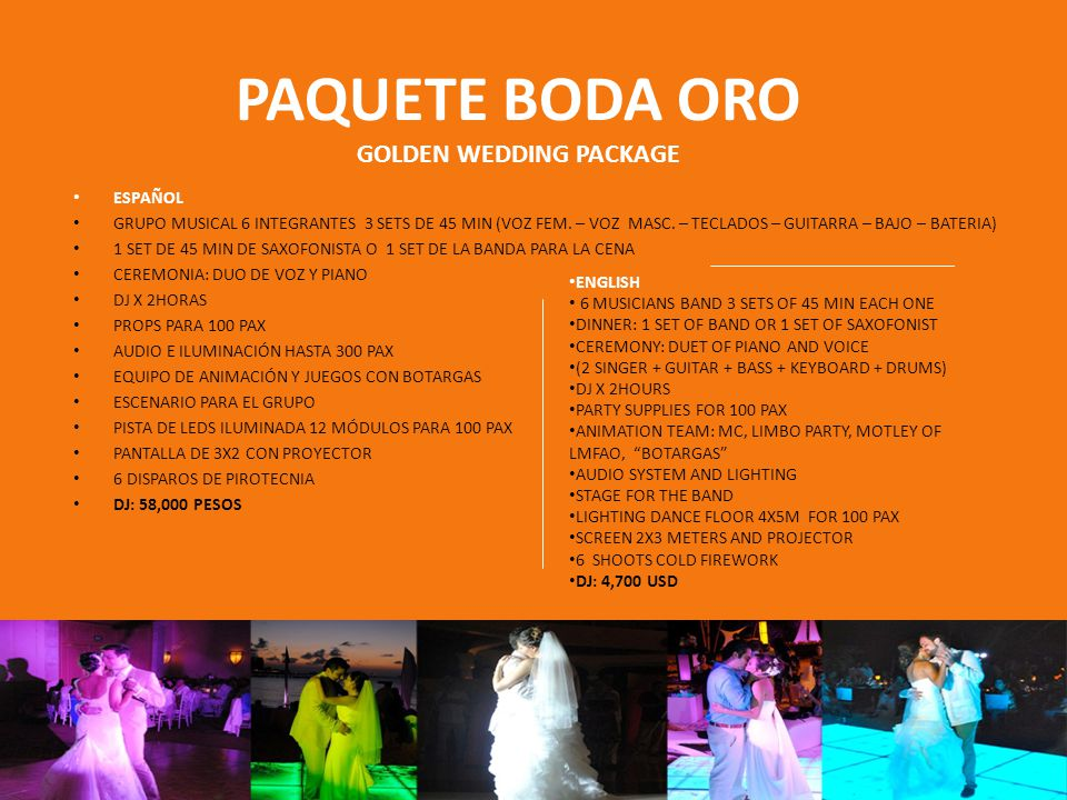 PAQUETE BODA ORO GOLDEN WEDDING PACKAGE ESPAÑOL GRUPO MUSICAL 6 INTEGRANTES 3 SETS DE 45 MIN (VOZ FEM.