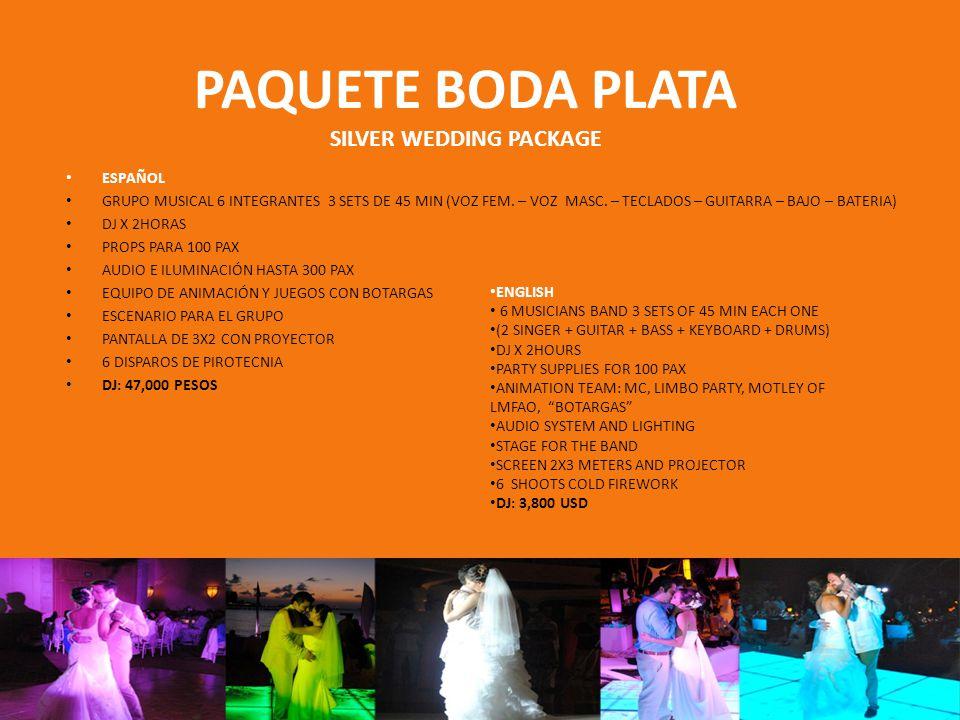PAQUETE BODA ORO GOLDEN WEDDING PACKAGE ESPAÑOL GRUPO MUSICAL 6 INTEGRANTES 3 SETS DE 45 MIN (VOZ FEM.