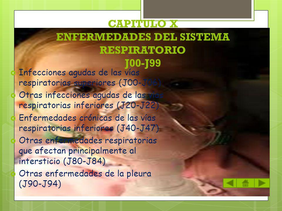 CAPITULO X ENFERMEDADES DEL SISTEMA RESPIRATORIO J00-J99 Infecciones agudas de las vías respiratorias superiores (J00-J06) Otras infecciones agudas de