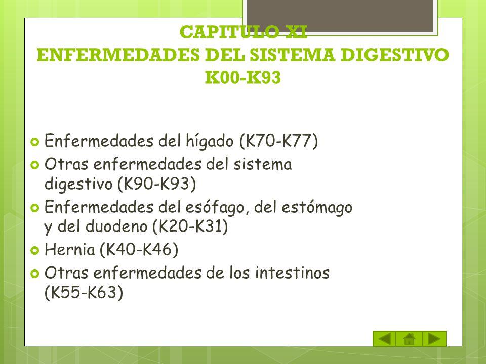 CAPITULO XI ENFERMEDADES DEL SISTEMA DIGESTIVO K00-K93 Enfermedades del hígado (K70-K77) Otras enfermedades del sistema digestivo (K90-K93) Enfermedad