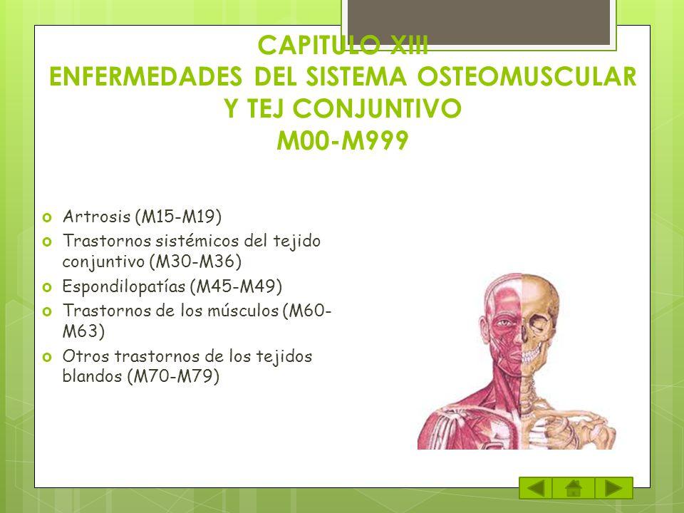 CAPITULO XIII ENFERMEDADES DEL SISTEMA OSTEOMUSCULAR Y TEJ CONJUNTIVO M00-M999 Artrosis (M15-M19) Trastornos sistémicos del tejido conjuntivo (M30-M36