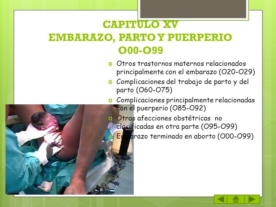 CAPITULO XV EMBARAZO, PARTO Y PUERPERIO O00-O99 Otros trastornos maternos relacionados principalmente con el embarazo (O20-O29) Complicaciones del tra
