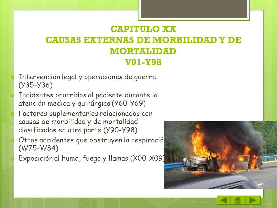 CAPITULO XX CAUSAS EXTERNAS DE MORBILIDAD Y DE MORTALIDAD V01-Y98 Intervención legal y operaciones de guerra (Y35-Y36) Incidentes ocurridos al pacient