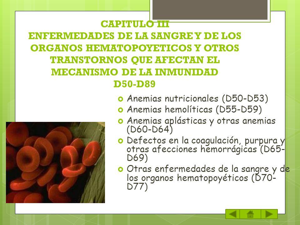 CAPITULO III ENFERMEDADES DE LA SANGRE Y DE LOS ORGANOS HEMATOPOYETICOS Y OTROS TRANSTORNOS QUE AFECTAN EL MECANISMO DE LA INMUNIDAD D50-D89 Anemias n