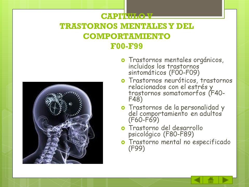 CAPITULO V TRASTORNOS MENTALES Y DEL COMPORTAMIENTO F00-F99 Trastornos mentales orgánicos, incluidos los trastornos sintomáticos (F00-F09) Trastornos