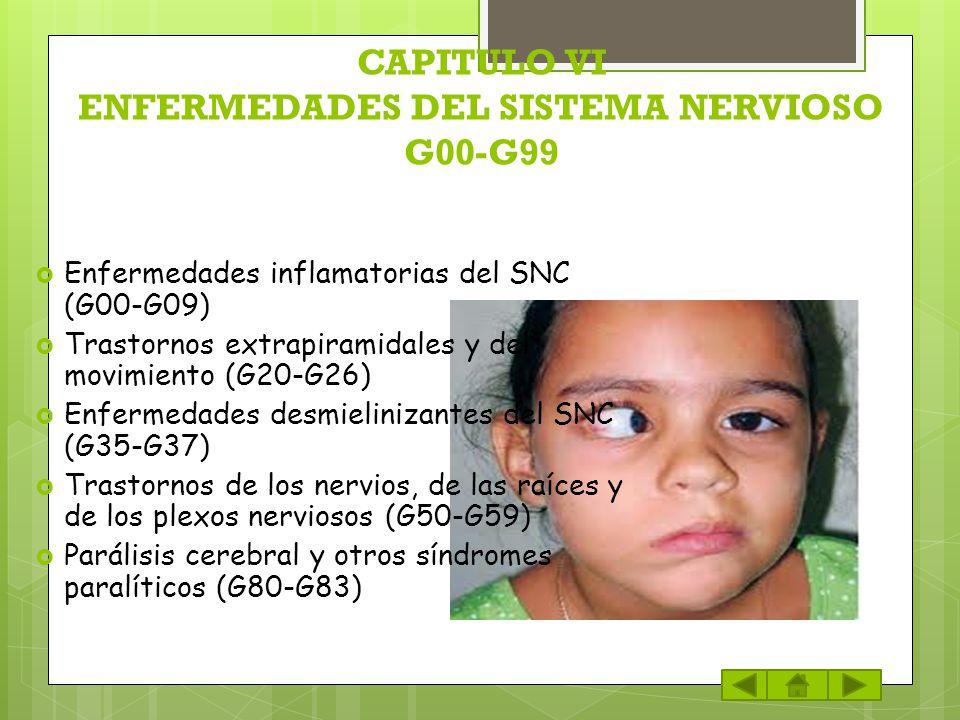CAPITULO VI ENFERMEDADES DEL SISTEMA NERVIOSO G00-G99 Enfermedades inflamatorias del SNC (G00-G09) Trastornos extrapiramidales y del movimiento (G20-G