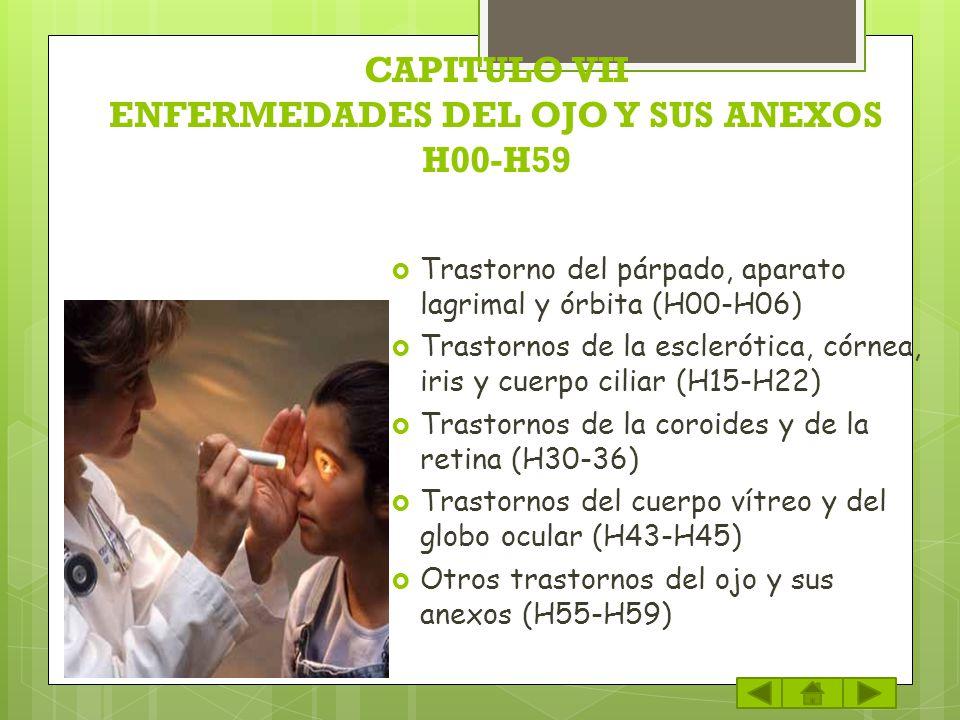 CAPITULO VII ENFERMEDADES DEL OJO Y SUS ANEXOS H00-H59 Trastorno del párpado, aparato lagrimal y órbita (H00-H06) Trastornos de la esclerótica, córnea