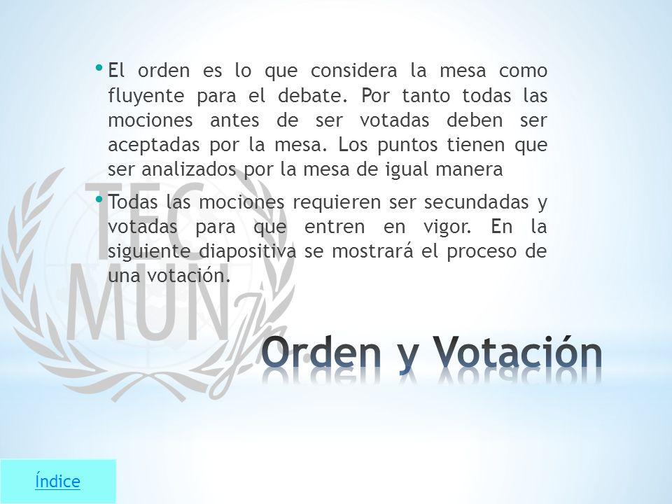 Índice El orden es lo que considera la mesa como fluyente para el debate. Por tanto todas las mociones antes de ser votadas deben ser aceptadas por la