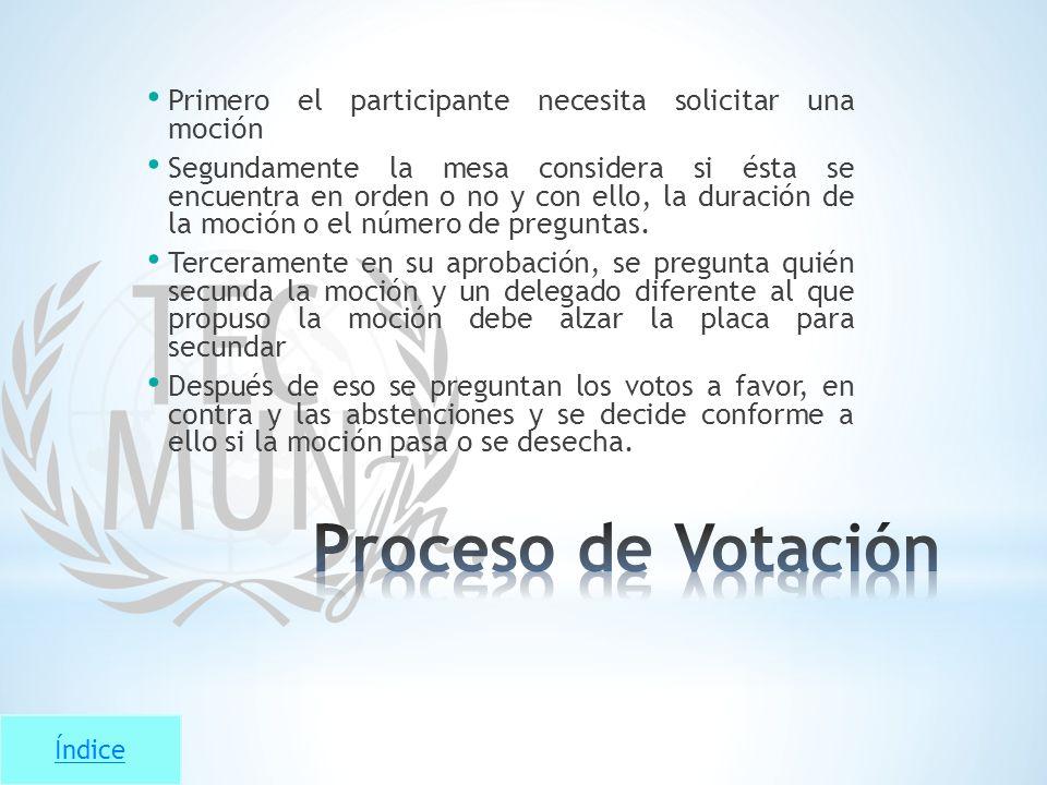 Índice Primero el participante necesita solicitar una moción Segundamente la mesa considera si ésta se encuentra en orden o no y con ello, la duración