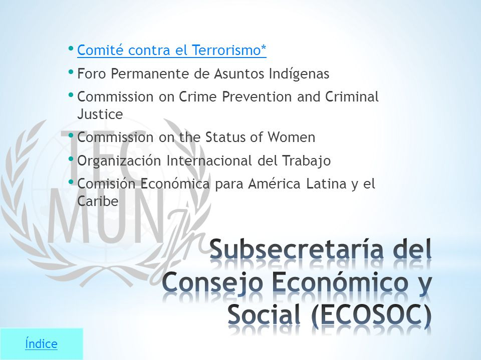Índice Comité contra el Terrorismo* Foro Permanente de Asuntos Indígenas Commission on Crime Prevention and Criminal Justice Commission on the Status