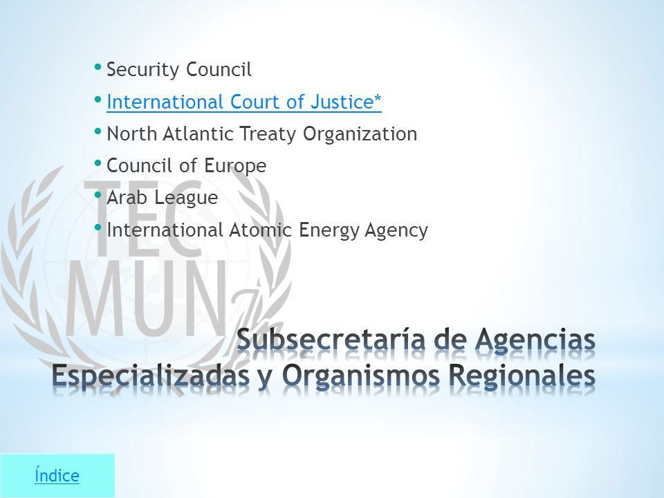 Índice Security Council International Court of Justice* North Atlantic Treaty Organization Council of Europe Arab League International Atomic Energy A
