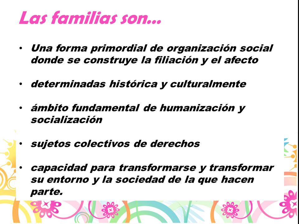 Las familias son… Una forma primordial de organización social donde se construye la filiación y el afecto determinadas histórica y culturalmente ámbit