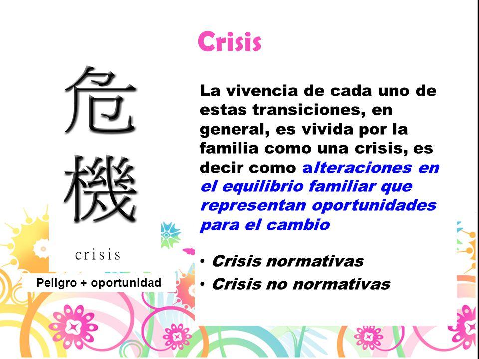 Crisis La vivencia de cada uno de estas transiciones, en general, es vivida por la familia como una crisis, es decir como alteraciones en el equilibri