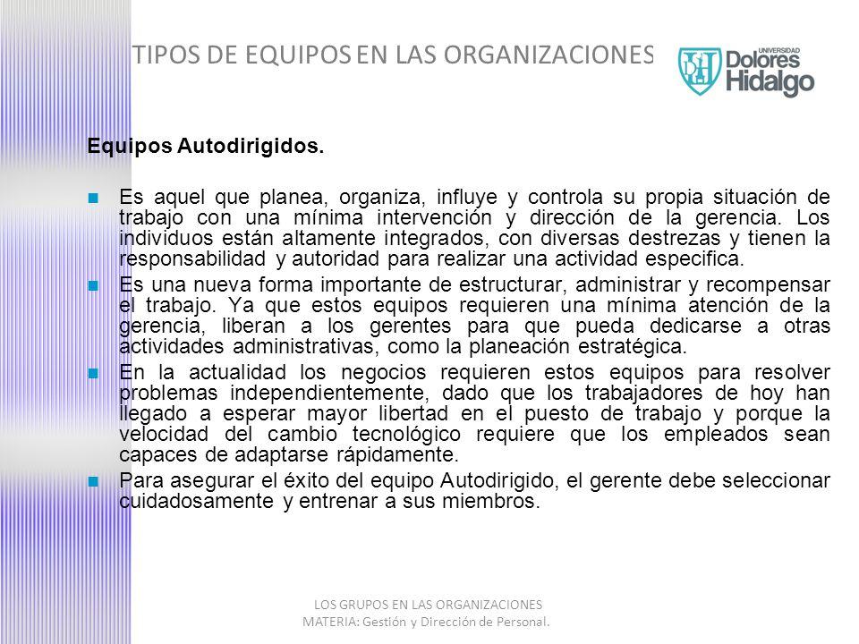 TIPOS DE EQUIPOS EN LAS ORGANIZACIONES LOS GRUPOS EN LAS ORGANIZACIONES MATERIA: Gestión y Dirección de Personal.