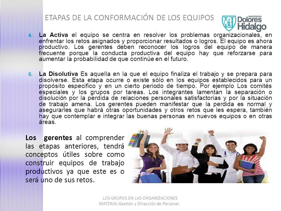 EFICACIA DE LOS EQUIPOS Satisfacción personal sobre el trabajo Confianza mutua y espíritu de equipo Bajo nivel de conflictos no resueltos, y de lucha de poder Bajo nivel de amenaza, sentimiento de seg.