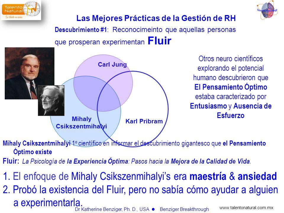 www.talentonatural.com.mx Carl Jung Karl Pribram Mihaly Csikszentmihalyi Richard Haier Fluir Descubrimiento #2 : Reconocer que los humanos usando su preferencia cerbral natural también informaban de estar experimentando Fluir Dr Katherine Benziger, Ph.
