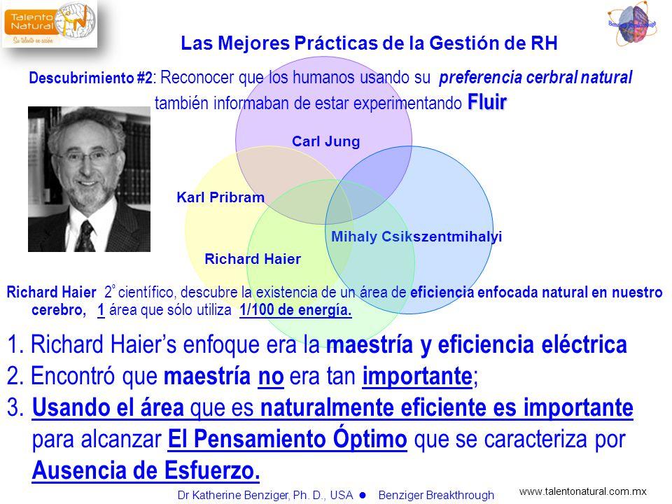 www.talentonatural.com.mx Carl Jung Karl Pribram Mihaly Csikszentmihalyi Richard Haier Fluir Descubrimiento #2 : Reconocer que los humanos usando su p