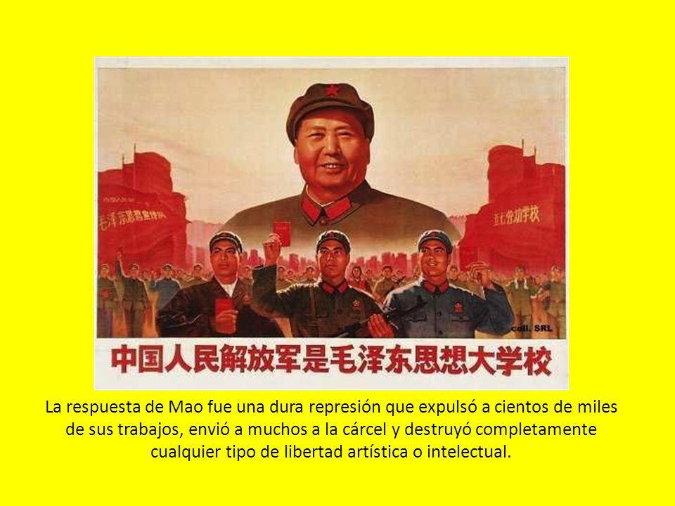 La respuesta de Mao fue una dura represión que expulsó a cientos de miles de sus trabajos, envió a muchos a la cárcel y destruyó completamente cualqui