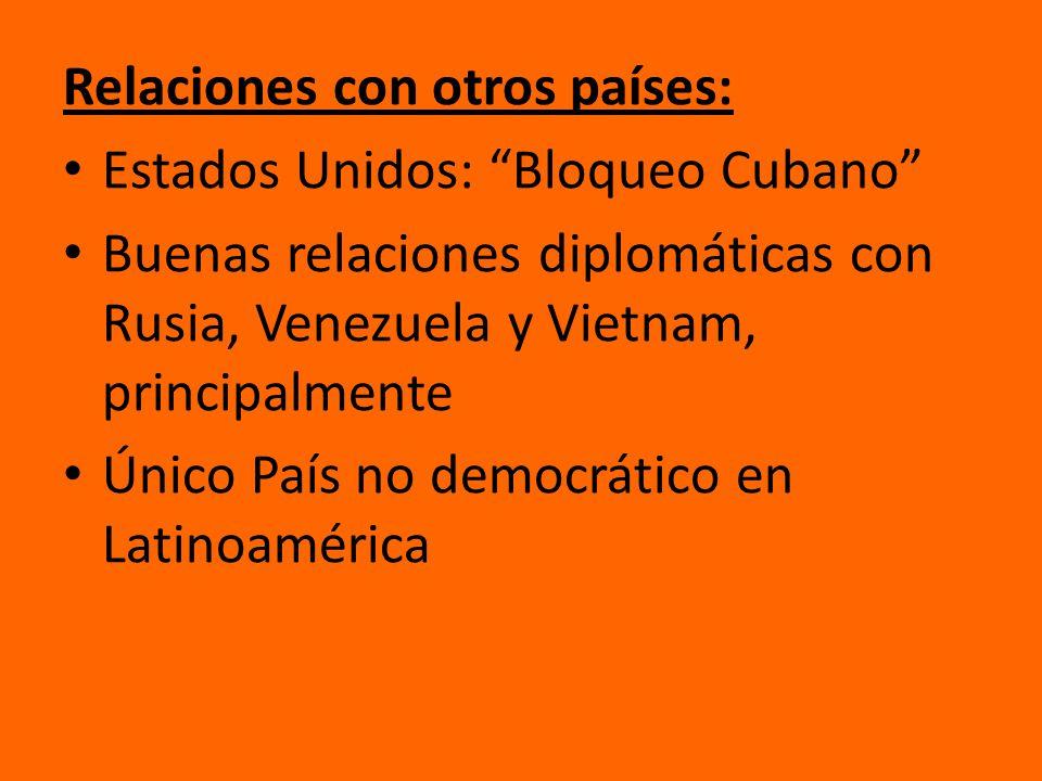 Relaciones con otros países: Estados Unidos: Bloqueo Cubano Buenas relaciones diplomáticas con Rusia, Venezuela y Vietnam, principalmente Único País n