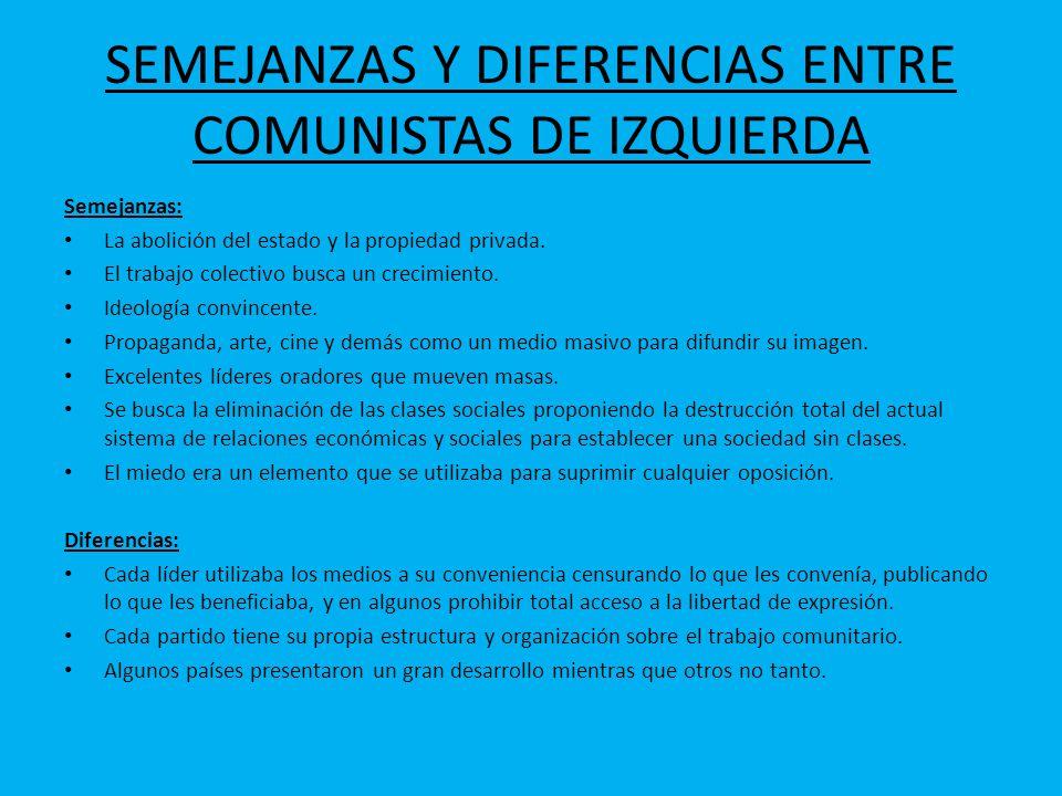SEMEJANZAS Y DIFERENCIAS ENTRE COMUNISTAS DE IZQUIERDA Semejanzas: La abolición del estado y la propiedad privada. El trabajo colectivo busca un creci