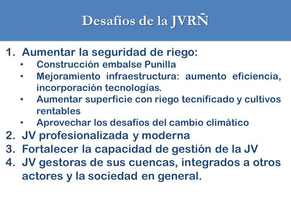 Desafíos de la JVRÑ 1.Aumentar la seguridad de riego: Construcción embalse Punilla Mejoramiento infraestructura: aumento eficiencia, incorporación tec