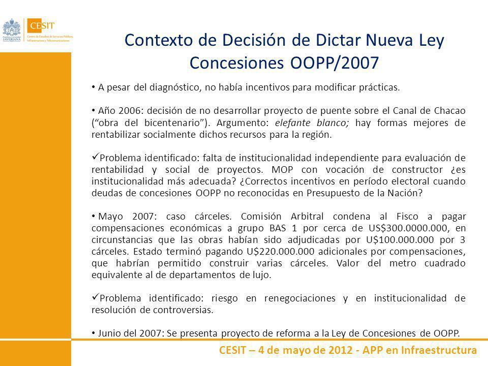 CESIT – 4 de mayo de 2012 - APP en Infraestructura Contexto de Decisión de Dictar Nueva Ley Concesiones OOPP/2007 A pesar del diagnóstico, no había in