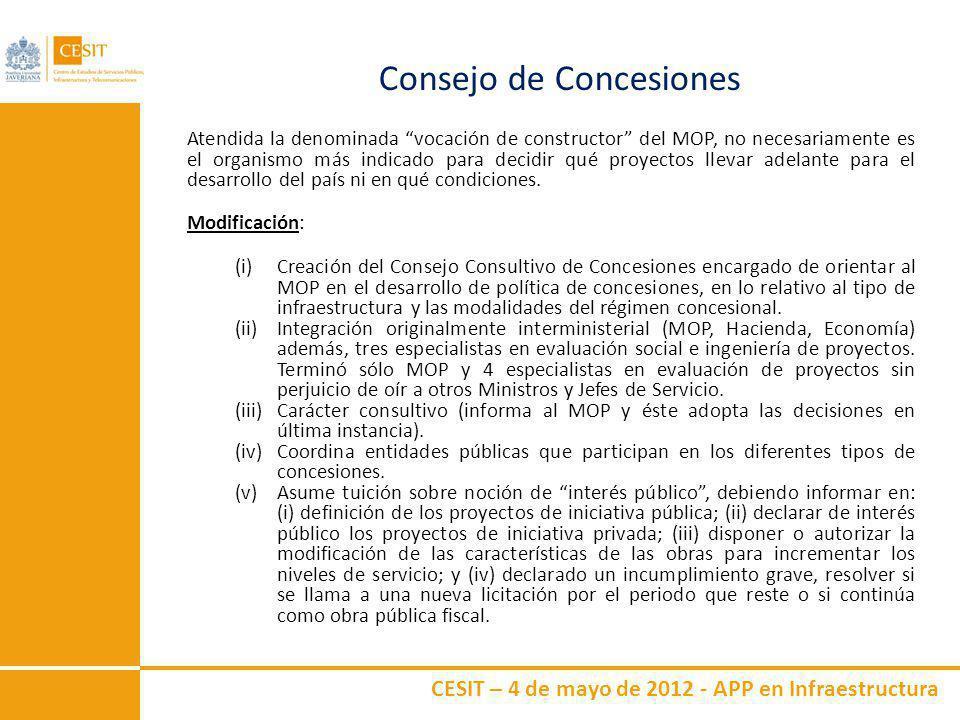 CESIT – 4 de mayo de 2012 - APP en Infraestructura Consejo de Concesiones Atendida la denominada vocación de constructor del MOP, no necesariamente es
