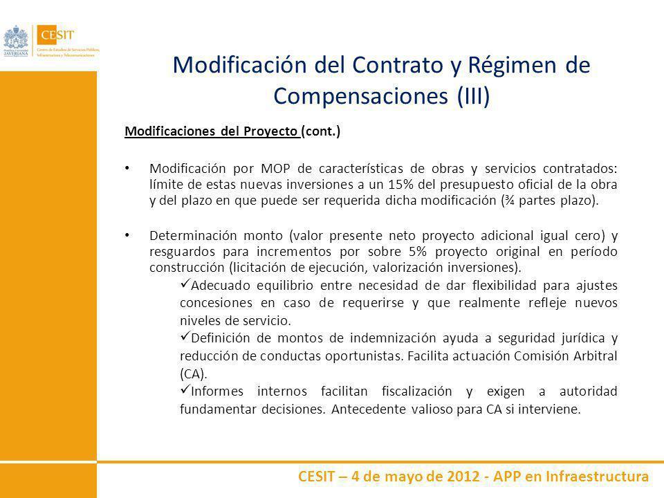 CESIT – 4 de mayo de 2012 - APP en Infraestructura Modificación del Contrato y Régimen de Compensaciones (III) Modificaciones del Proyecto (cont.) Mod