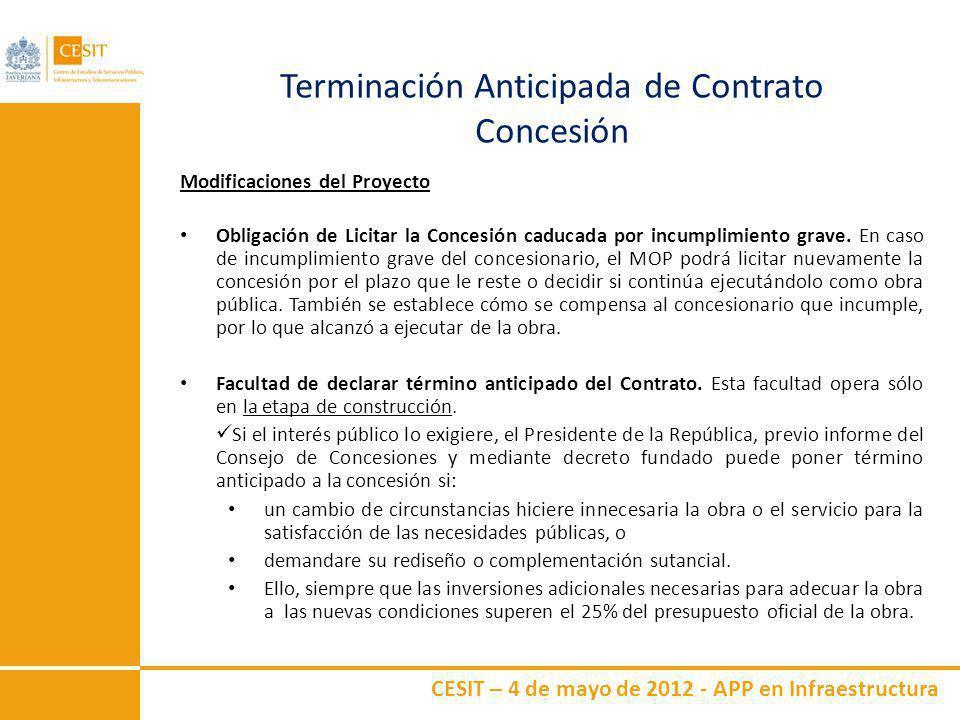 CESIT – 4 de mayo de 2012 - APP en Infraestructura Terminación Anticipada de Contrato Concesión Modificaciones del Proyecto Obligación de Licitar la C