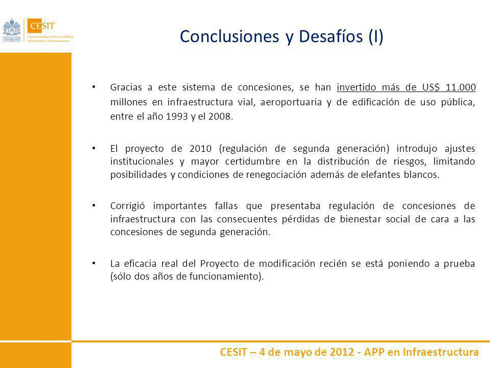 CESIT – 4 de mayo de 2012 - APP en Infraestructura Conclusiones y Desafíos (I) Gracias a este sistema de concesiones, se han invertido más de US$ 11.0