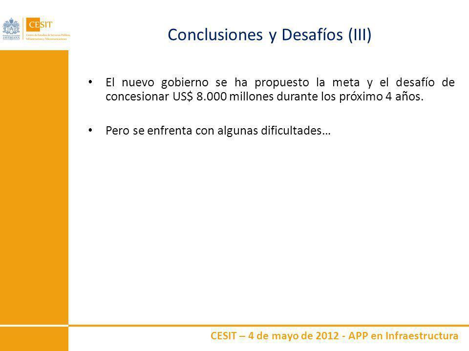 CESIT – 4 de mayo de 2012 - APP en Infraestructura Conclusiones y Desafíos (III) El nuevo gobierno se ha propuesto la meta y el desafío de concesionar
