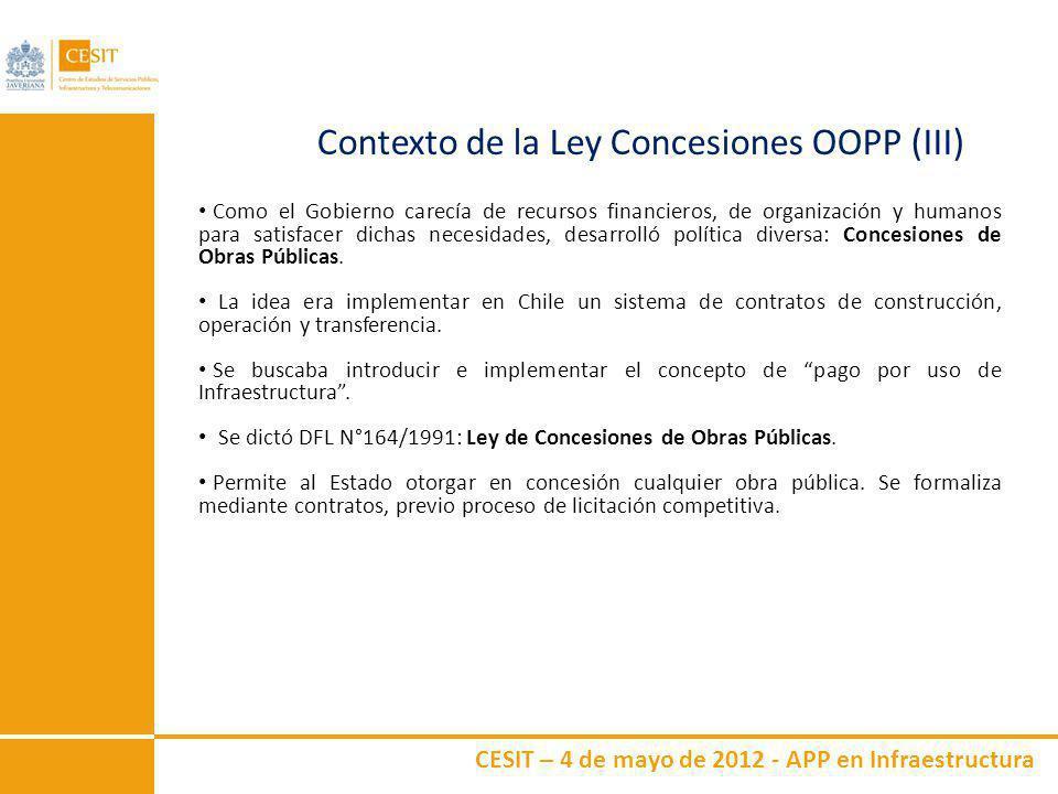 CESIT – 4 de mayo de 2012 - APP en Infraestructura Contexto de la Ley Concesiones OOPP (IV) Principios El Estado delega en sociedad concesionaria la responsabilidad de la construcción, operación y mantención de una determinada obra de infraestructura.