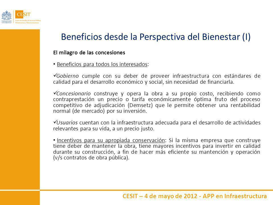 CESIT – 4 de mayo de 2012 - APP en Infraestructura Beneficios desde la Perspectiva del Bienestar (II) Desde un punto de vista distributivo, parece aconsejable que sean los que se benefician de un determinado proyecto de infraestructura pública los que paguen por él.