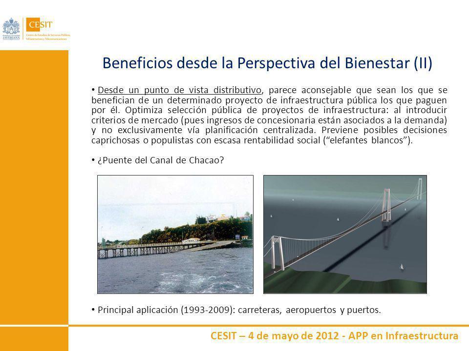 CESIT – 4 de mayo de 2012 - APP en Infraestructura Beneficios desde la Perspectiva del Bienestar (II) Desde un punto de vista distributivo, parece aco