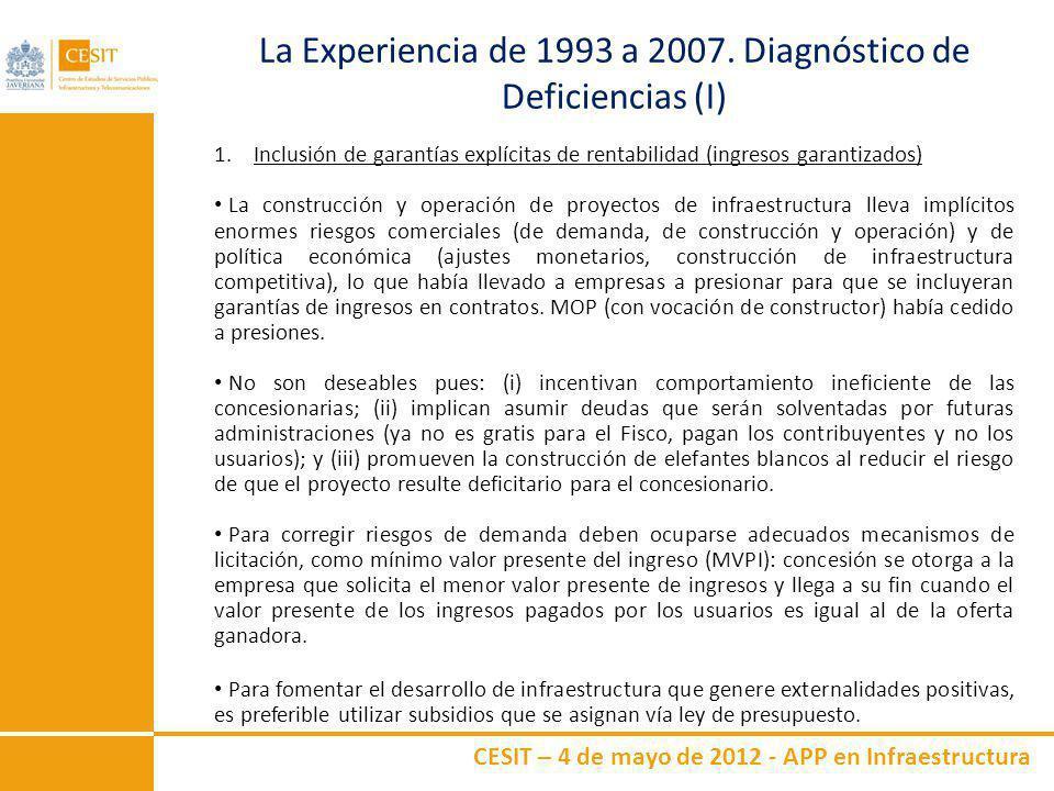 CESIT – 4 de mayo de 2012 - APP en Infraestructura La Experiencia de 1993 a 2007. Diagnóstico de Deficiencias (I) 1.Inclusión de garantías explícitas