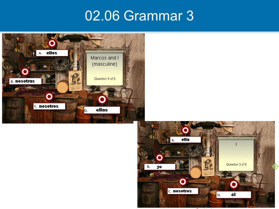 02.06 Grammar 3 A. B. C. D.
