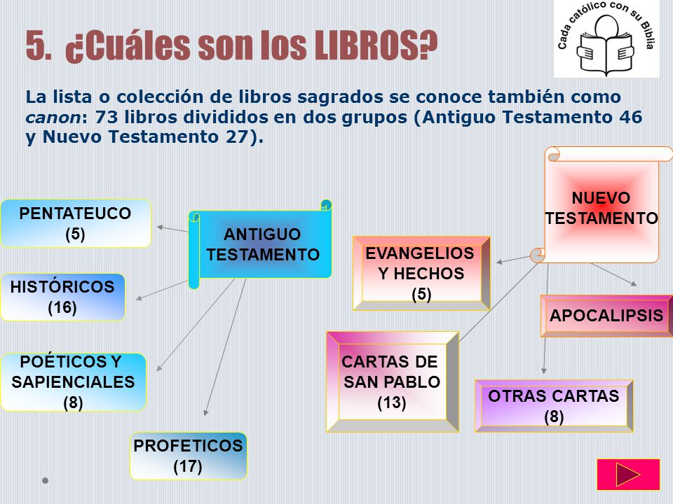 5. ¿Cuáles son los LIBROS? La lista o colección de libros sagrados se conoce también como canon: 73 libros divididos en dos grupos (Antiguo Testamento