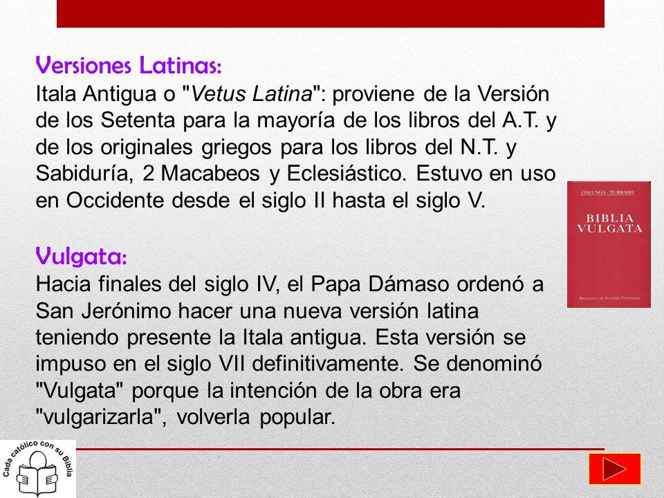 Versiones Latinas: Itala Antigua o