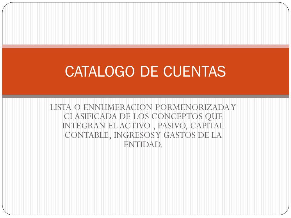 LISTA O ENNUMERACION PORMENORIZADA Y CLASIFICADA DE LOS CONCEPTOS QUE INTEGRAN EL ACTIVO, PASIVO, CAPITAL CONTABLE, INGRESOS Y GASTOS DE LA ENTIDAD.